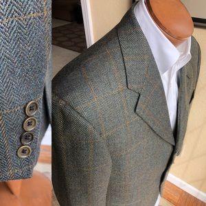 Faconnable Harris Tweed Windowpane Blazer Size 40R